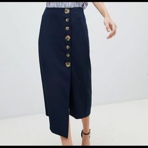 ASOS NWOT asymmetric hem side button pencil skirt